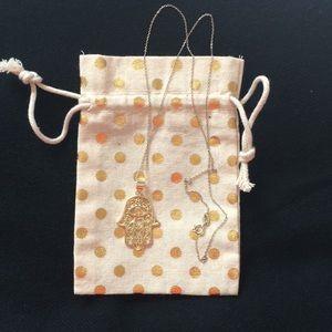 Jewelry - Large Carved Hamsa Pendant Necklace